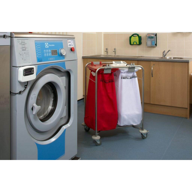 2 bag stainless steel laundry cart