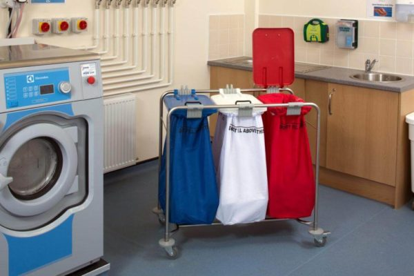 3 bag stainless steel laundry cart