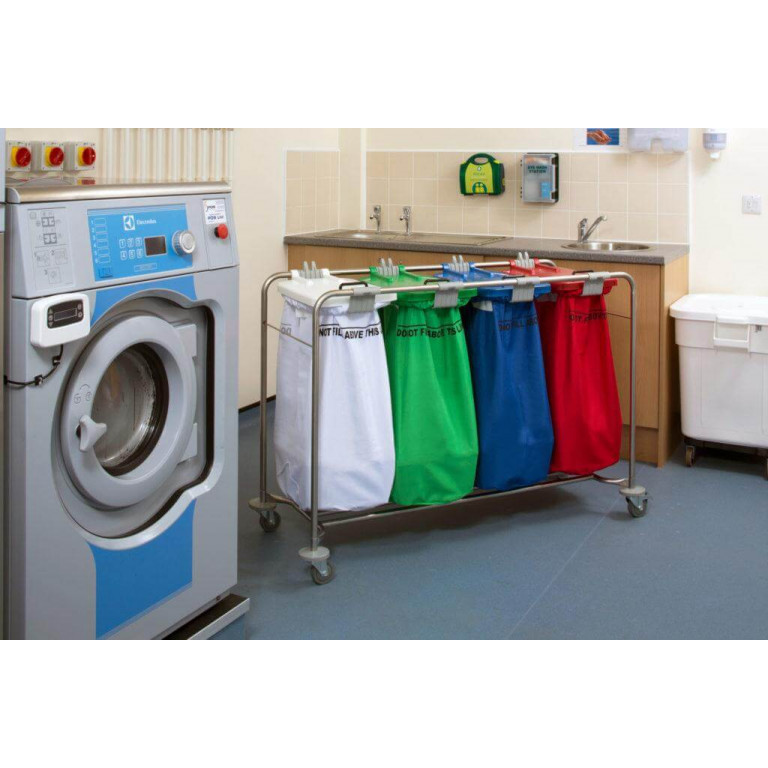 4 bag stainless steel laundry cart